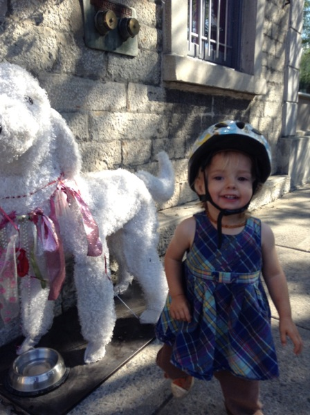 Viv in a bike helmet beside a stuffed poodle.
