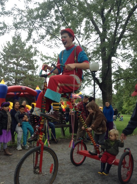 Clown, Oscar and Viv on a giant tricycle