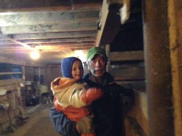 Viv and Grandpa in the barn.