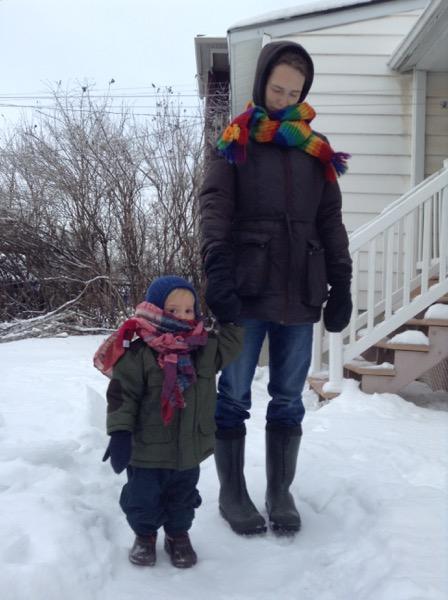 Viv and Elizabeth bundled up in glorious scarves.