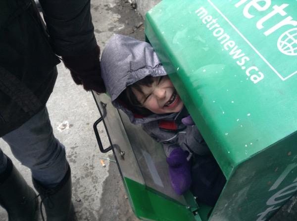 Oscar bursting forth from a newspaper box
