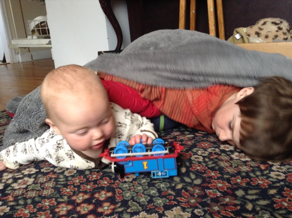 Ada, Oscar and a toy train.
