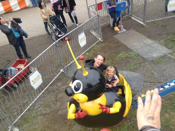 Elizabeth and Viv in a bee ride.