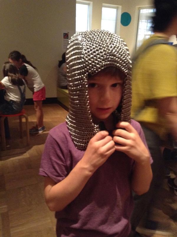 Oscar in a chainmail coif.