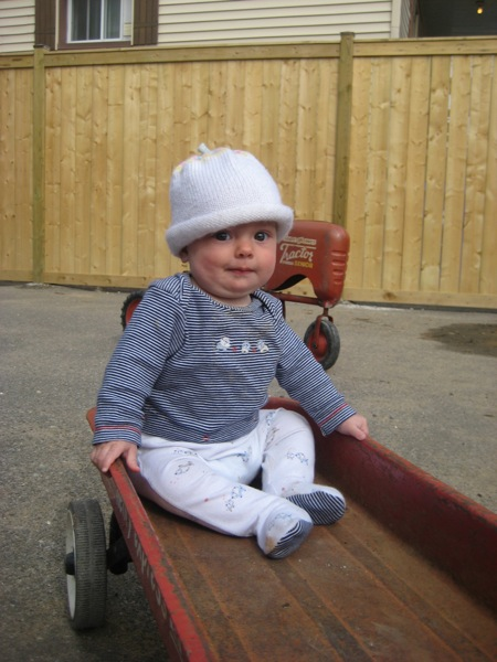 Vivien in a wagon