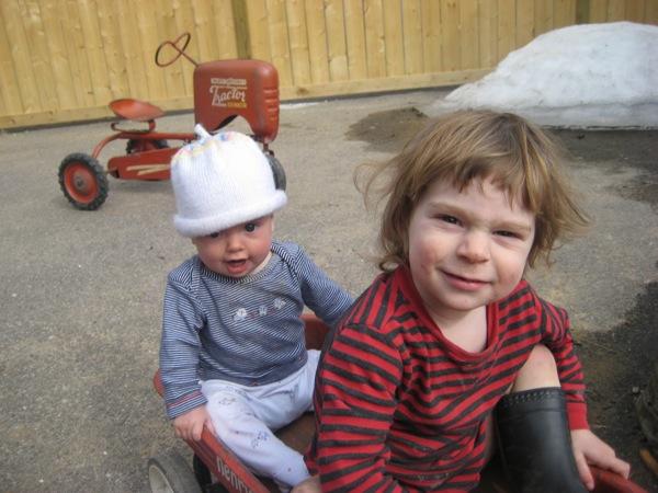 Oscar and Vivien in a wagon